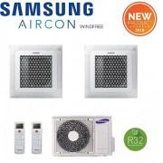 Samsung Climatizzatore Condizionatore Dual Split Samsung Windfree R-32 A Cassetta 4 Vie Mini 9000+9000 Con Aj050ncj – New 2018 9+9