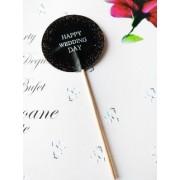 "Topper Candy Bar 5cm ""Negru Happy wedding day"""
