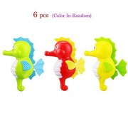 KateDy 6 pcs Cute Sea Horse Shaped Educational Clockwork Wind Up Plastic Baby Bath Toys Swimming Toy for 3 Months up Baby Toddlers