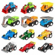 Wellbeing Within Products Set of 12 Assorted Pull-back Toy Cars W/ Construction Truck