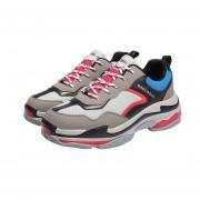 Moda hombres Flyknitting Deportes zapatos zapatillas de viaje superior de malla Gris y rojo