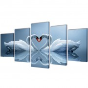 vidaXL Canvas Wall Print Set Swan 200 x 100 cm