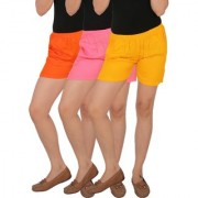 Culture the Dignity Women's Solid Rayon Shorts With Side Pockets Combo of 3 - Orange - Baby Pink - Yellow - C_RSHT_OP2Y - Pack of 3 - Free Size