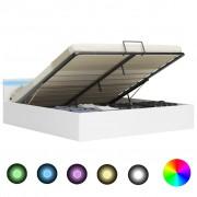 vidaXL Легло повдигащ механизъм с LED бяла изкуствена кожа 160x200 cм