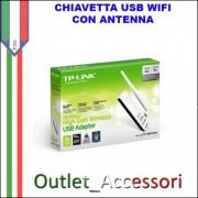 Penna Chiavetta USB WiFi WI-FI Wirless SCHEDA DI RETE WIRELESS N 150MBPS ALTO GUADAGNO USB TP-LINK TL-WN722N
