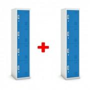 B2B Partner Viertüriger schrank, zylinderschloss, 1800 x 380 x 450 mm, grau/blau,