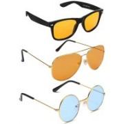 Elligator Aviator, Round, Wayfarer Sunglasses(Yellow, Orange, Blue)