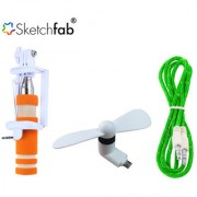 Sketchfab Combo of Mini Selfie StickV8 OTG Fan With Aux Cable - Assorted Color