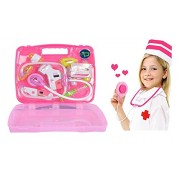 Electrobot 8 pcs Children Pretend Play Doctor Nurse Toy Set Portable Suitcase Medical Kit Kids Educational Role Play Classic Toys