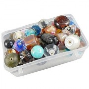 eshoppee multi-color-shape glass beads 100 gm 8-25mm mix approx 50 pcs for jewellery art and craft making diy kit