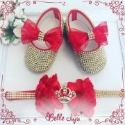bellejuju Sapatinho de bebe super luxo vermelho + fita de strass coroa
