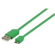 Micro USB kabel plat (groen 1m) voor o.a. smartphones