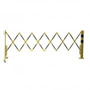 Sperrpfosten mit Scherengitter Vierkantrohr 70 x 70 mm, zum Aufdübeln gelb / schwarz, Länge max. 3600 mm