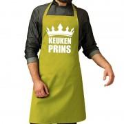 Bellatio Decorations Keuken Prins barbeque schort / keukenschort lime groen heren - Feestschorten