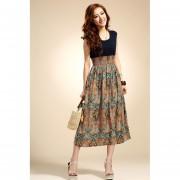 Vestido Con Cintura Alta Para Mujer Estilo Bohemio-Multicolor