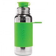 Pura Sport Vacuum Insulated 16 OZ / 470 ML Stainless Steel Water Bottle with Silicone Sport Flip Cap Green Sleeve