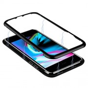iPhone 8 plus Magnetic Case, 7 plus, ADSM Magnetic Case with Metal Frame, Glass Back, Magnetic Case for iPhone 8 plus, Aluminum Alloy Tempered Glass with Built-in Magnet Flip Cover(Black)
