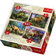Trefl Puzzle Slagalica 4u1 Dinosaurusi (34249)