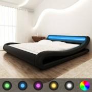 vidaXL Легло с LED, с матрак, изкуствена кожа, 140x200 cм, извивки, черно