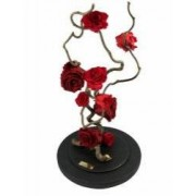 Aranjament 9 Trandafiri Criogenati Rosii Queen Roses in cupola de sticla