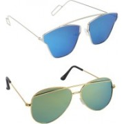 Pogo Fashion Club Aviator, Cat-eye Sunglasses(Blue, Green, Golden, Multicolor)
