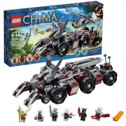 "Lego Year 2013 ""Legends Of Chima"" Series Vehicle Set #70009 Worriz Combat Lair With 5 Detachable Vehicles: Wolf Claw Bikes, Truck, Helicopter, Mobile Prison And Motorcyle Plus 6 Minifigures (Worriz, Wilhurt, Wakz, Windra, Eris And Grizzam) With Weapons (T"