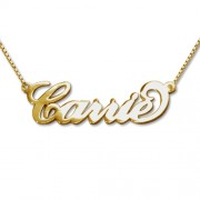 Personalized Men's Jewelry 9K Double Thickness Solid Gold Carrie Style Name with Box Chain Necklace 108-01-063-12