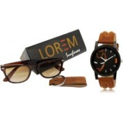 Rudra Fashion Chronograph Watch, Wrap-around Sunglass Combo(Multicolor)