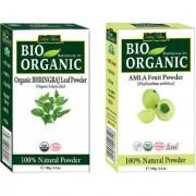 Organic Amla Powder (Gooseberry) For Premature Graying Hair (white Hair) And Bhringraj Powder Set Of 2