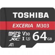 Toshiba Paměťová karta microSDXC, 64 GB, Toshiba M303 Exceria, Class 10, UHS-I, v30 Video Speed Class, UHS-Class 3, vč. SD adaptéru, výkonnostní standard A1