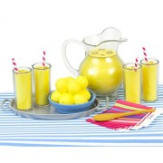 Lemonade Doll Food Play Specialty Serving Set Includes Doll Pitcher Doll Serving Tray Bowl of Lemons 4 Lemonade Drinks 4 Napkins Wood Serving Spoon & Table Runner. Perfect for 18 American Girl Dolls Lemonade Stand Food Set for Dolls.
