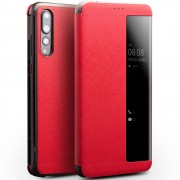 QIALINO View Window Smart Cross Texture Leather Case for Huawei P20 Pro - Red