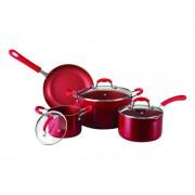Set de Batería de Cocina Oster 7 Piezas Aluminio Antiadherente - Rojo