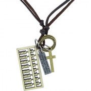 The Jewelbox Hip Hop Punk Abacus Cross Bronze Vintage Antique Dog Tag Leather Pendant Chain For Boys Men