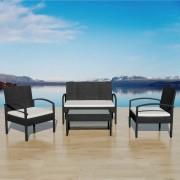 vidaXL Градински комплект с диван, 7 части, черен полиратан