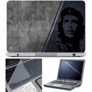 Finearts Laptop Skin Che Guevara Grey Blue With Screen Guard And Key Protector - Size 15.6 Inch