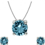 Mahi with Crystal Elements Light Blue Classic Solitaire Rhodium Plated Pendant Set for Women NL1104142RLBlu