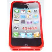 Силиконов гръб ТПУ за Apple iPhone 4G/4GS Червен