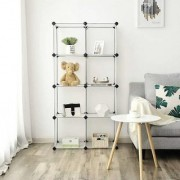 House of Quirk 8-Cube DIY Bookcase Media Storage Standing Shelf Storage Cabinet- Transparent White Plastic Shoe Rack
