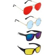 Elligator Aviator, Round, Wayfarer Sunglasses(Red, Blue, Yellow)