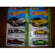 2015 Hot Wheels Hw Workshop - Lamborghini Huracan LP 610-4 (Yellow & Green) - McLaren P1 (Orange & Silver) - Lot of 4!!