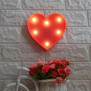 House of Quirk 3D Love Heart LED Lamp Light Decorative Night Light Battery Operated Marquee Signs Letter Romantic Night