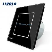 Intrerupator dublu cu touch Livolo din sticla - Seria R, negru