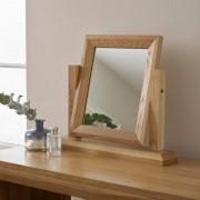 Oak Furnitureland Natural Solid Oak Mirrors - Dressing Table Mirror - Bevel Range - Oak Furnitureland