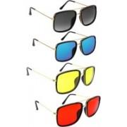 Elligator Retro Square Sunglasses(Black, Yellow, Red, Blue)