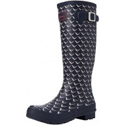 Joules Women's Welly Print Rain Boot, French Navy Oyster Catcher, 6 M US