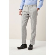 Next Signature Linen Suit: Trousers - Tailored Fit - Light Grey - Mens