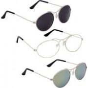 Phenomenal Oval Sunglasses(Black, Clear, Green)