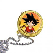 Onlyfo Dragon Ball Son Goku Pattern Pocket Watch Locket Pendant Necklace with Jewelry Box,Dragon Ball Necklace for Boys,Girls (Style F)