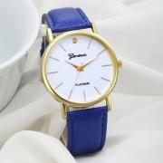 Ceas de mana Geneva cu curea albastra si pietricica